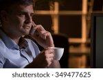 busy boss is having a break for ... | Shutterstock . vector #349477625