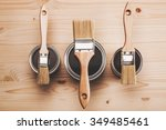 copy space with three paint... | Shutterstock . vector #349485461