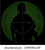 ranger standing with rifle and... | Shutterstock .eps vector #349496159