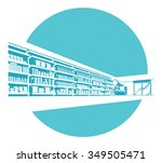 vector shelves in store.... | Shutterstock .eps vector #349505471