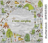 set of hand drawn camping... | Shutterstock .eps vector #349505585