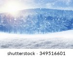 winter background  falling snow ... | Shutterstock . vector #349516601