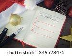 new year resolution  empty list.... | Shutterstock . vector #349528475