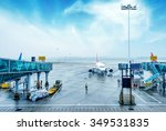 airport outside the window... | Shutterstock . vector #349531835