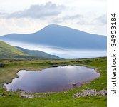 landscape with mountain lake - stock photo