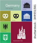 landmarks of germany. set of... | Shutterstock .eps vector #349551581