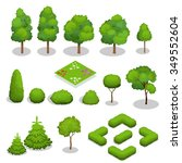 trees isometric. flowers  grass ... | Shutterstock .eps vector #349552604