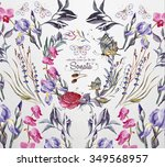 watercolor  flower's  frame for ... | Shutterstock . vector #349568957