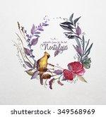 watercolor  flower's  frame for ... | Shutterstock . vector #349568969