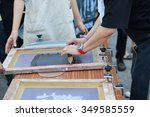 manual screen printing shirt ... | Shutterstock . vector #349585559