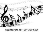 vector musical notes staff... | Shutterstock .eps vector #34959532