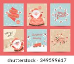 christmas greeting cards set.... | Shutterstock .eps vector #349599617