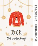 ugly sweater party invitation... | Shutterstock .eps vector #349607915