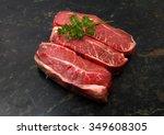 fresh raw beef lamb fillet over ... | Shutterstock . vector #349608305