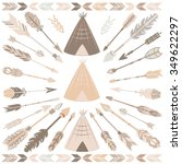vector tribal   beige and brown ... | Shutterstock .eps vector #349622297