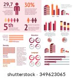 world map infographic. vector... | Shutterstock .eps vector #349623065