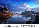 snow in reine village  lofoten... | Shutterstock . vector #349624361