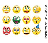 yellow classic emoticon vector... | Shutterstock .eps vector #349636355