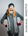 blonde girl put her hands on... | Shutterstock . vector #349657919
