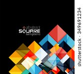 glossy color squares on black.... | Shutterstock .eps vector #349691234