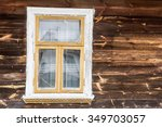 small window in wooden village... | Shutterstock . vector #349703057