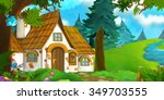 cartoon background of an old...   Shutterstock . vector #349703555
