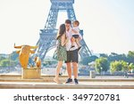 happy family of three standing... | Shutterstock . vector #349720781