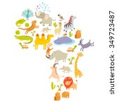 africa animals map silhouettes. ... | Shutterstock .eps vector #349723487