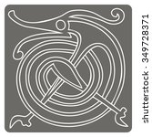 monochrome icon with celtic art ... | Shutterstock .eps vector #349728371