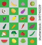 fruits and vegetables in green... | Shutterstock .eps vector #349740239