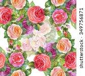 watercolor summer garden... | Shutterstock . vector #349756871