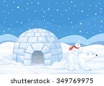polar bear mom and baby riding... | Shutterstock .eps vector #349769975