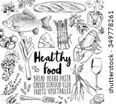 hand drawn food doodles  | Shutterstock .eps vector #349778261