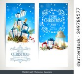 vector set of two christmas... | Shutterstock .eps vector #349789577
