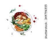 feast meal   watercolor food...   Shutterstock . vector #349796555