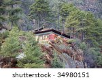 nepalese guesthouse  everest... | Shutterstock . vector #34980151