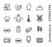 baking tool icons set. line... | Shutterstock .eps vector #349801994