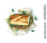 sandwich   watercolor food... | Shutterstock . vector #349802801
