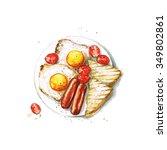 breakfast   watercolor food... | Shutterstock . vector #349802861