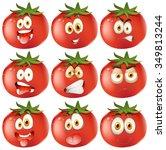 fresh tomato with facial... | Shutterstock .eps vector #349813244