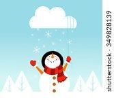 snowman catching cloud   Shutterstock .eps vector #349828139