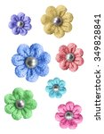 Colorful Knitted Flowers On...