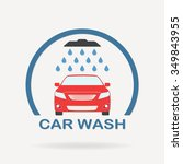 car wash icon or label with... | Shutterstock . vector #349843955