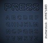blue pressed font set  vector | Shutterstock .eps vector #349871885