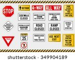 american traffic signs. vector... | Shutterstock .eps vector #349904189