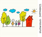 hand drawn of house and children | Shutterstock .eps vector #349948421