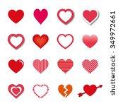 vector hearts icon set | Shutterstock .eps vector #349972661