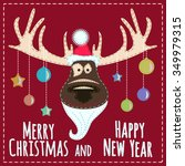 christmas card with reindeer. | Shutterstock .eps vector #349979315