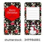 christmas snowman   poinsettia...   Shutterstock . vector #349986881