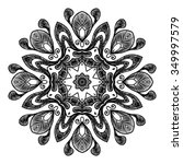 black vector mandala on white... | Shutterstock .eps vector #349997579